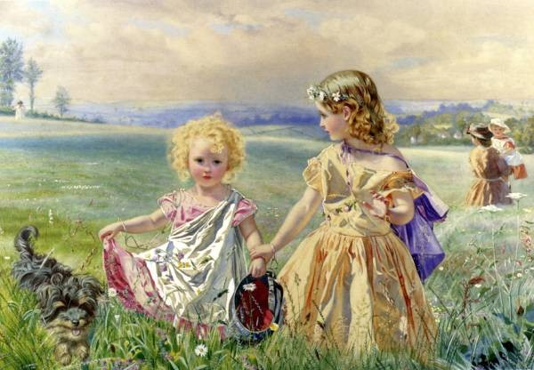 Children Garlanded With Flowers In A Meadow
